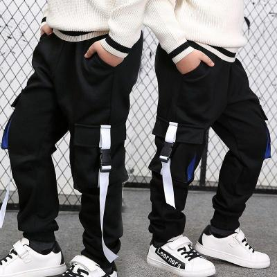 Boys Casual Sweatpants Teenage Multi-Pocket Fashion Long Pants