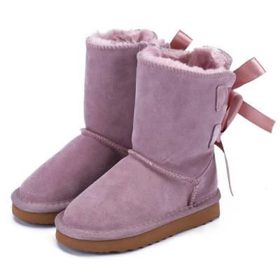Genuine Leather Fashion Children Snow Boots Girls Ankle Bowknots Boots