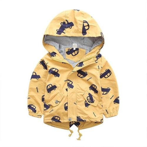 Jacket Boys Kids Outerwear Cute Car Windbreaker Coats Print Canvas