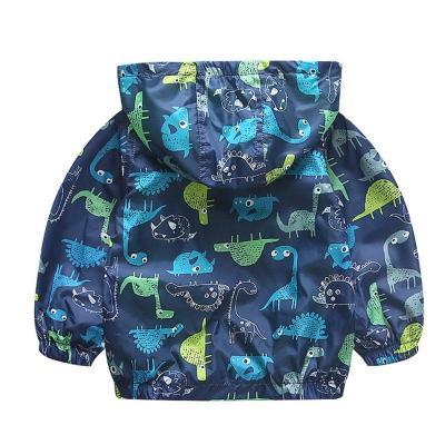 Dinosaur Windbreaker Kids Jacket Boys Outerwear Coat