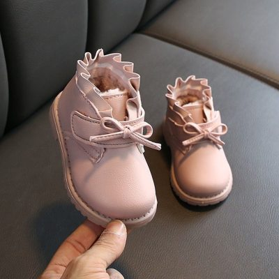 Winter Toddler Baby Girls Bowknot Solid Warm Short Boots Booties Causal Shoes