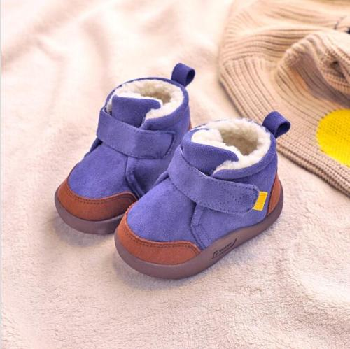 Winter Baby Boys Snow Boots Warm Plush Outdoor Soft Bottom Non-Slip Shoes