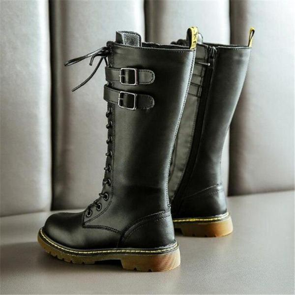 Girls British Style High Knight Boots Children Genuine Leather Snow Boots