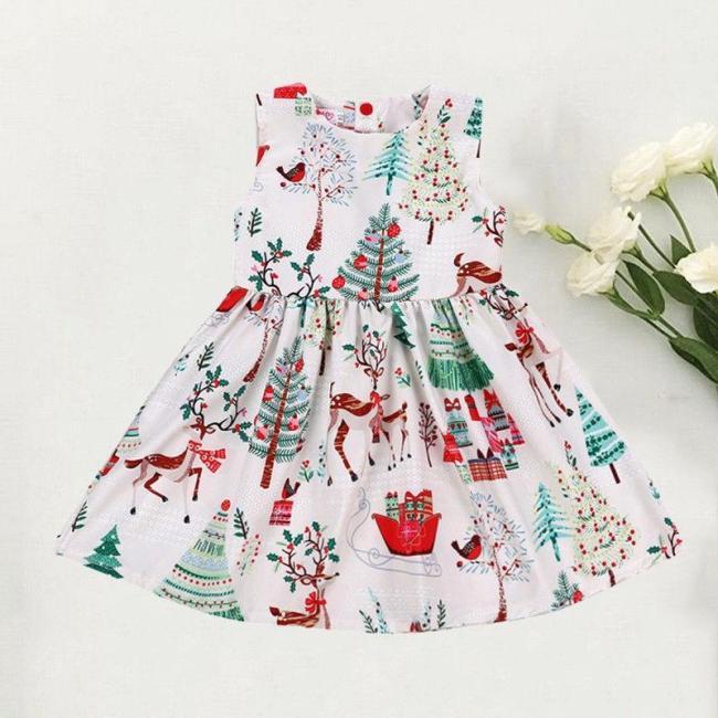 Cute Toddler Kid Baby Girl Christmas Cartoon Deer Sleeveless Party Dress