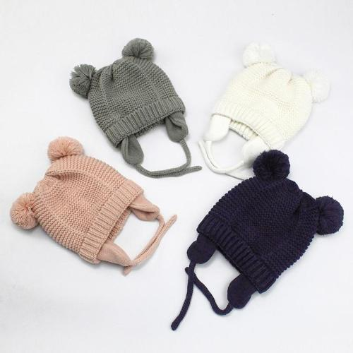 Cute Knitted Pompom Baby Hat Cap Thick Warm Baby Hat