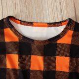Girls Dress Toddler Baby Kids Halloween Pumpkin Plaid Tops Overall Dress Set