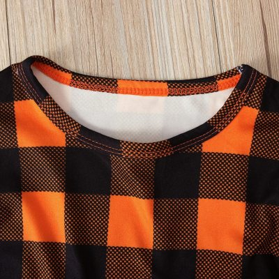 Girls Dress Toddler Baby Kids Halloween Pumpkin Plaid Tops Overall Dress Set