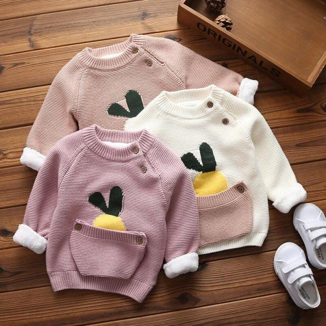 Baby Girls Warm Sweaters Toddler Infant Cartoon Thicken Tops Wool Pullovers
