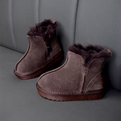 Winter Children Snow Boots Genuine Leather Wool Girls Boots