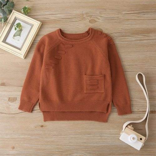 Kids Baby Teen Girls Long Sleeved Solid Pocket Sweater