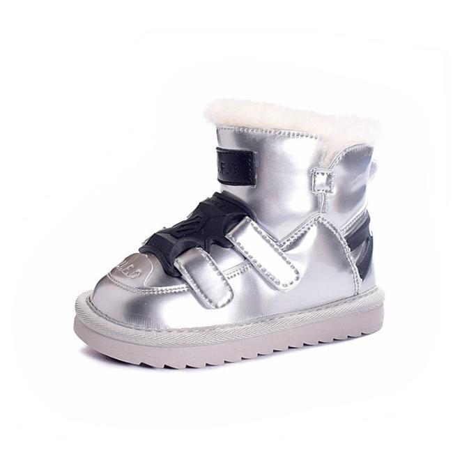 Winter Children Snow Boots Mirror Waterproof Boys Non-slip Wool Warm Boots