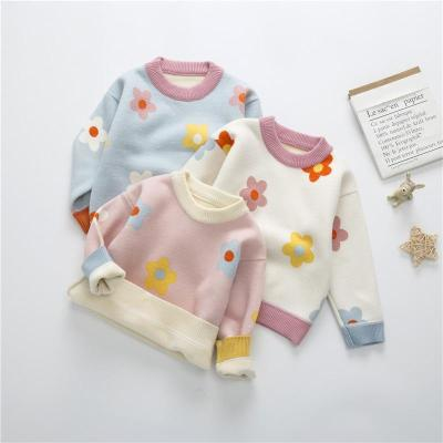 Girls Floral Knitted Sweater Baby Kids Thick Long Sleeve Tops Pullover