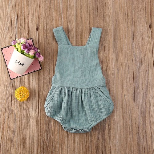 Solid Sleeveless Backless Newborn Baby Girl Romper Infant Kids Girl Rompers