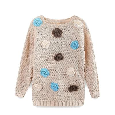 Toddler Girl Sweater 3D Floral Long Sleeve Pullover Knited Clothes