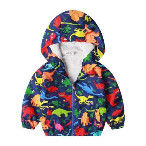 Cotton Jacket For Kids Boys Windbreaker Cartoon Dinosaur Children Coat