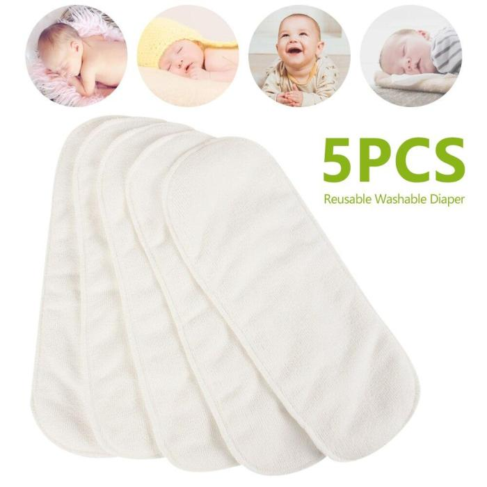5 PCS Reusable Baby Diapers Cloth 3 Layer Insert 100% Cotton Washable Diaper