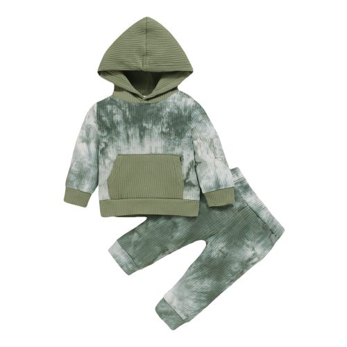 New Toddler Kids Baby Boy Tie-dye Clothes Cute Hooded Tops Camouflage Pants Outfits