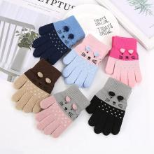 Children Kids Winter Warm Thicken Gloves Toddler Cute Cat Mittens