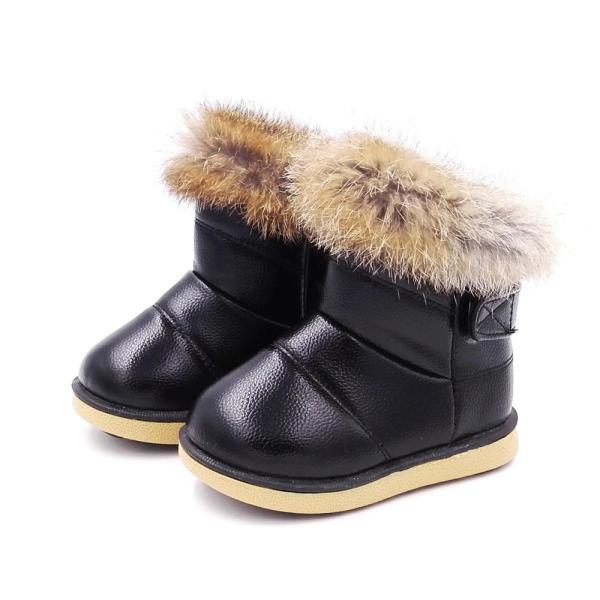 Baby Kids Winter Plush Rabbit Fur Boots Girls Warm Plush Snow Boots