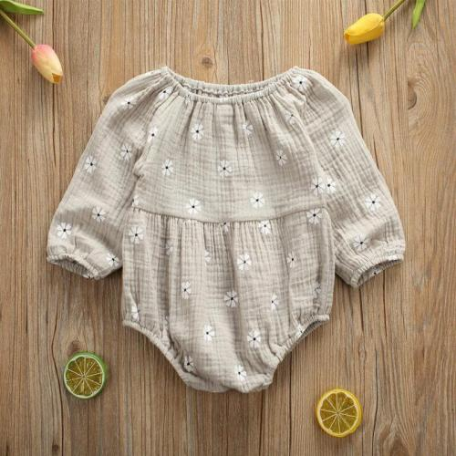 Newborn Infant Baby Girls Cotton Linen Long Sleeves Off Shoulder Floral Bodysuit