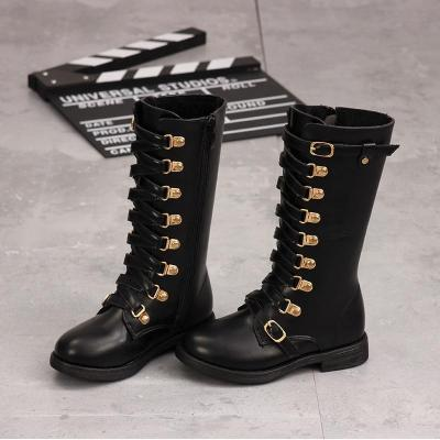 Kids Shoes Martin Boots Girls Cool Fashion Metal Button Knee-high Boots