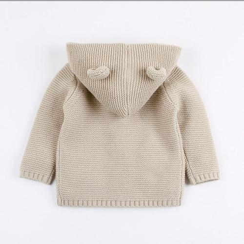 Baby Boys Cartoon Cardigan Ears Clothing Newborn Knitted Hooded Sweater
