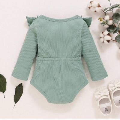 Toddler's Clothes Solid Color Ruffle Long Sleeves Ribbed Rompers