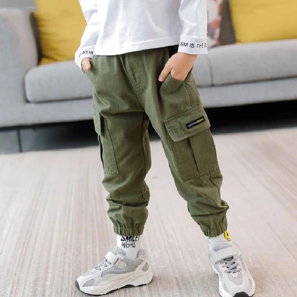 Boys Cargo Pants Big Pockets Trousers Clothes For Children