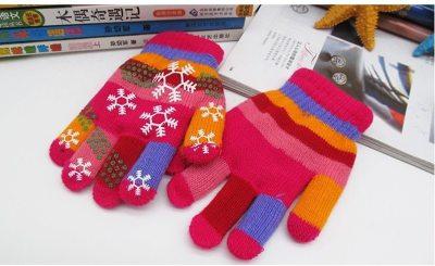 Snow Print Gloves Children Bilayer Thickened Colored Yarn Knit Gloves