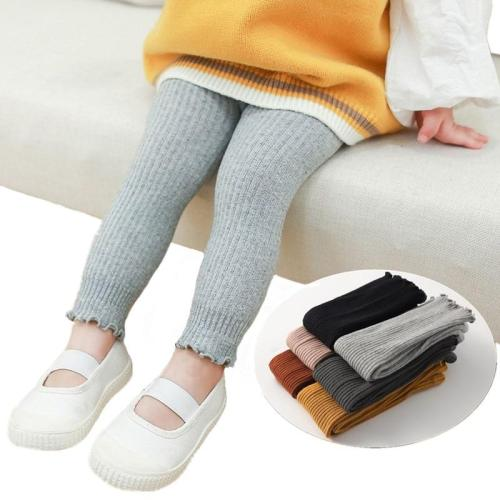 Girls Leggings Children's Pants Toddler Girl Trousers Ribbed Leggings