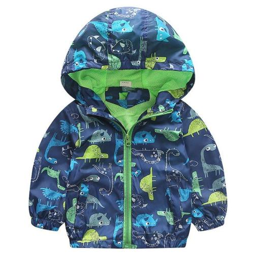 Dinosaur Windbreaker Kids Jacket Boys Outerwear Coat