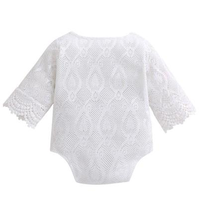 Newborn Romper Baby Girls 100% Cotton White Ruffles Lace Jumpsuit
