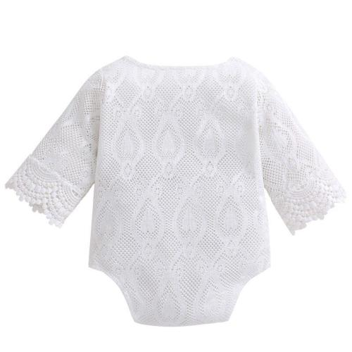 Newborn Romper Baby Girls 100% Cotton White Ruffles Lace Jumpsuit