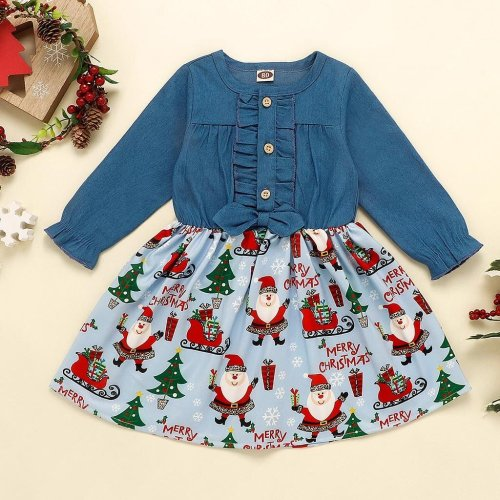 Toddler Kids Baby Girls Print Christmas Santa Xmas Denim Dress Princess Outfits