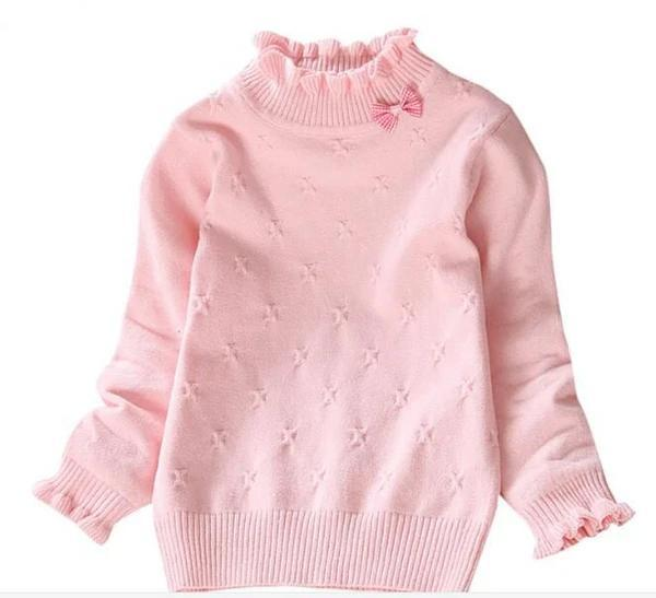 Girls Pullover Solid Candy Color Knitted Baby Girls Ribbed Sweater