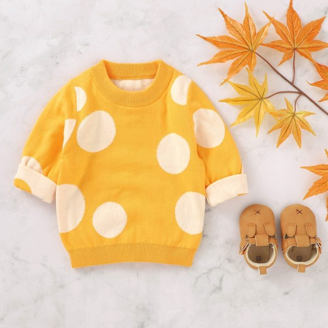 Toddler Baby Boys Polka Dot Pullover Knit Cute Long Sleeve Sweaters