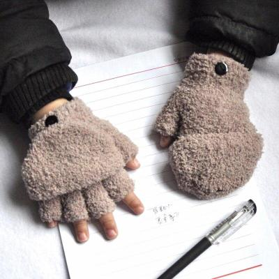Fleece Thicken Half Finger Flap Baby Gloves Winter Keep Warm Children Kids Gloves