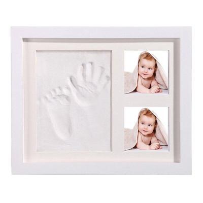 Baby Hand Foot Print Baby Photo Frame DIY handprint With Cover Fingerprint Mud Set