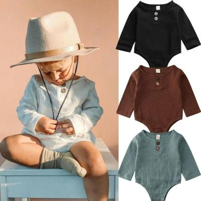 Solid Long Sleeve Unisex Newborn Baby Bodysuit One Piece Buttons Decor