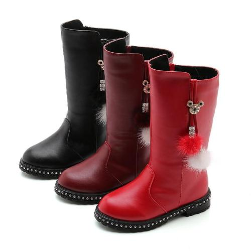 Kids Shoes Girl Soft Leather Boots Children Velvet Warm High Leg Boots
