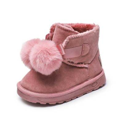 Children Winter Snow Boots Fur Frosted Leather Shoes Kids Ankey Boots