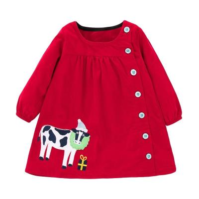 Kids Girls Fashion Button Dresses Girls Clothes Cow Applique
