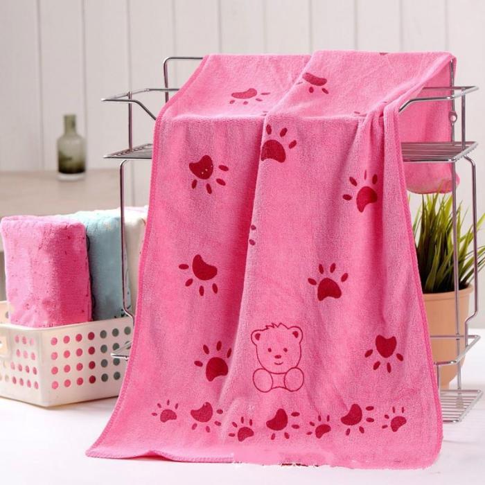Baby Kids Cotton Towels Baby Bath Towel Baby Cartoon Animal Claw Print Bath Towel