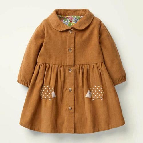 Kids Girls Dress Cotton Hedgehog Applique Toddler Girl Dresses