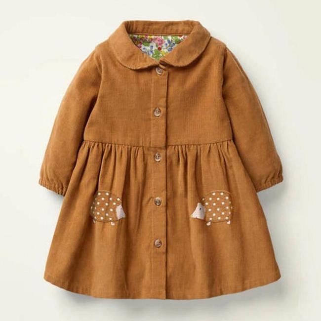 Kids Girls Dress Cotton Hedgehog Applique Toddler Girl Dresses