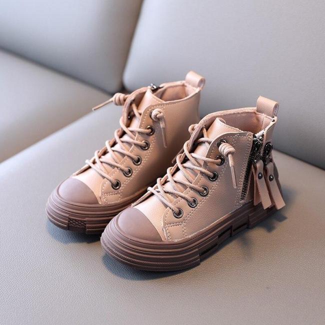 Plush Children Fashion Boots Boys Soft Leather Warm Martin Boots