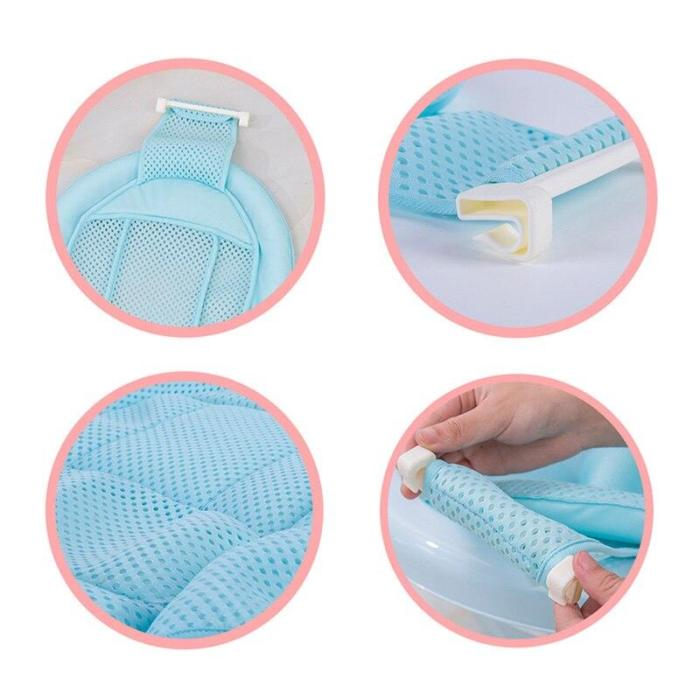 Baby Adjustable Infant Cross Shaped Slippery Bath Net Bathtub Shower Cradle Bed Seat Net