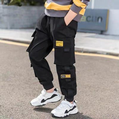 Boys Pants Solid Cargo Pants Teenage Boy Multi-Pocket Trousers