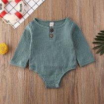 Solid Long Sleeve Unisex Newborn Baby Bodysuit One Piece Buttons Decor