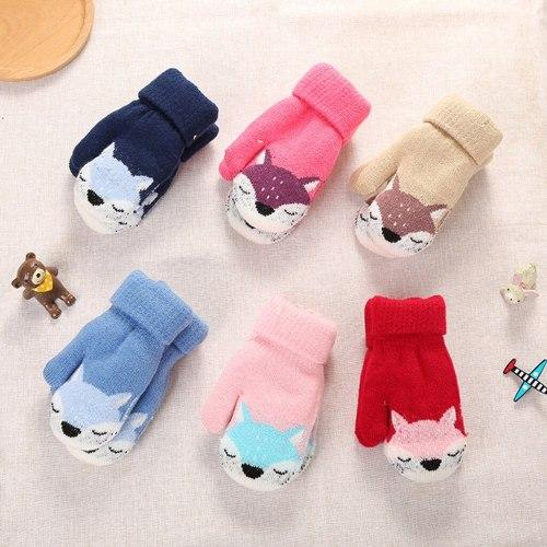 Children Kids Mittens Winter Knitted Rope Gloves Printed Full Finger Gloves